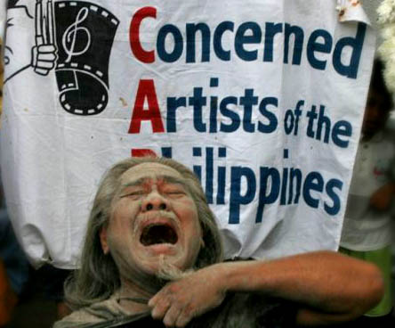 Filipino artists protest Palace's intervention in the selection of awardees for National Artist. Photo from CAP.